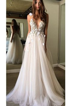 Floral Open Back Deep V-neck Straps Tulle Appliques Prom Dress,, Floral Princess Wedding Dress OK180