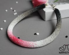 Pink gradient necklace Crochet beaded necklace Rose Gray gradient Modern necklace Minimalist jewelry Beadwork choker Seed bead necklace