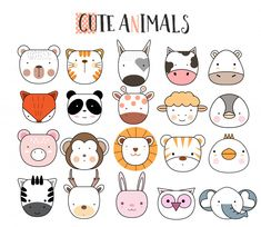 Discover thousands of Premium vectors available in AI and EPS formats Tier Doodles, Animal Doodles, Drawing For Kids, Cute Animal Drawings, Easy Drawings, Icon Set, Doodle Art, Cute Animals, Baby Animals