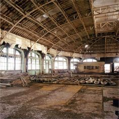Inside Brighton's West Pier before the fire. The Pier closed in 1975 and by the time this photo was taken, was a crumbling ruin