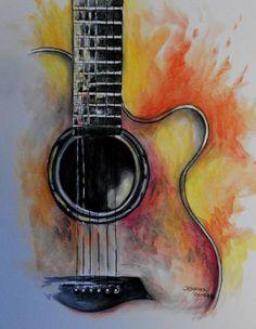 Guitar Wall Art, Guitar Drawing, Guitar Painting, Music Painting, Time Painting, Fabric Painting, Guitar Art Diy, Guitar Songs, Guitar Chords