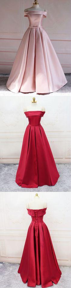 Satin Prom Dresses, Off Shoulder Prom Dresses, Elegant Long Evening Gowns #prom #dress #promdress #promdresses #gowns