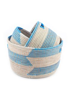 Stacked Knitting Baskets - Blue Herringbone