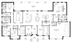 Riverview 49 - Acreage Level - Floorplan by Kurmond Homes - New Home Builders Sydney NSW 5 Bedroom House Plans, Ranch House Plans, Modern House Plans, Small House Floor Plans, Dream House Plans, Modern House Design, Cool House Designs, Floor Plan Layout, House Layouts