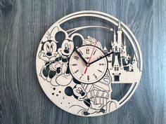 Mickey Mouse Wall Wood Clock $31.99 Size - 12 in / 30 cm Really cool gift and unique home decoration ;) Can be personalized for free ;) Free Shipping WORLDWIDE. Tracking ID is provided. In case the clock comes broken or with defect, I will make you a refund or will send you a replacement!