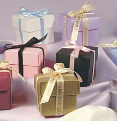 Designer Cubes with personalised ribbons from CelebrationsPlus.com £2.40 each with personalised ribbons