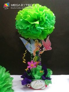 """These are an adorable way to get a topiary feel. We can do each one slightly different and maybe add a butterfly of something to the """"tree"""" Birthday Party Centerpieces, Fairy Birthday Party, Baby Birthday, 1st Birthday Parties, Birthday Decorations, Fête Peter Pan, Tinkerbell Party Theme, Tangled Party, Festa Party"""