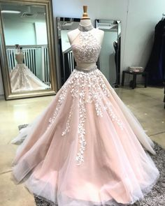 Blush pink tulle two pieces long open back silver beaded sweet 16 prom – Sweetheartgirls