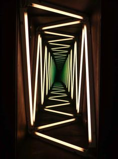 """I saw an exhibition by Ivan Navarro at the Towner gallery a couple of years ago and love the way he plays with light, perspective & mirrors """"IVAN NAVARRO : NARRATION THROUGH LIGHT"""" Perfect for a Haunted house or blacklight themed party! Neon Lighting, Lighting Design, Lighting Ideas, Unique Lighting, Light Luz, Collage Kunst, Instalation Art, Blacklight Party, Foto Art"""