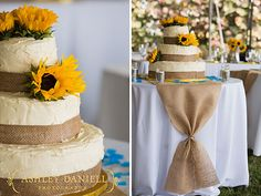 Burlap and sunflower cake + table. LOVE how fancy the burlap looks with just a simple tie.