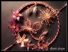 Large copper / purple suncatcher with 3d butterfly by illustrisdesigns