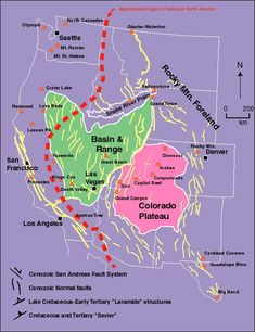 Map of Western US Teutonic Plates
