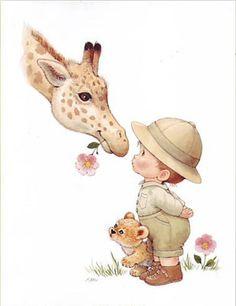 Printable - World - Ruth Morehead Cute Cartoon Animals, Baby Animals, Cute Animals, Cute Images, Cute Pictures, Drawing For Kids, Cute Illustration, Zebras, Vintage Children