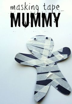 Masking tape mummy Halloween craft for kids. This is the PERFECT Halloween craft for preschool and even better it works on fine motor skills too! Masking tape mummy Halloween craft for kids. Theme Halloween, Halloween Crafts For Kids, Fall Halloween, Scary Halloween, Autumn Crafts For Kids, Fall Art For Toddlers, Halloween Decorations, Halloween Clothes, Costume Halloween
