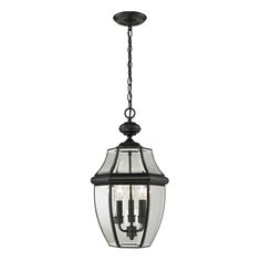 Black Beveled French Country Outdoor Lantern