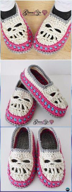 Crochet Glamour Skull Slipper Shoes Paid Pattern - Crochet Skull Ideas Free Patterns