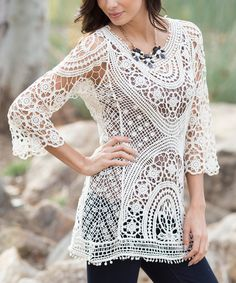 Another great find on #zulily! Pinkblush Ivory Semi-Sheer Crochet Top by Pinkblush #zulilyfinds