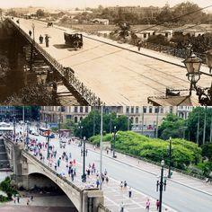 Foto comparativa: Antigo viaduto do Chá no início do século 20 (Teatro Municipal ainda não construído) e em 2014. Foto atual de Flavio Moraes.
