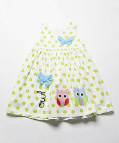 Love this White & Green Owls Babydoll Dress - Infant, Toddler & Girls on #zulily! #zulilyfinds