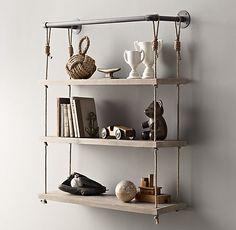 Industrial Pipe & Rope Shelf | Wall Storage
