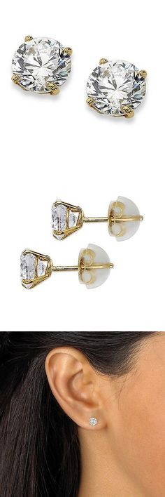 Other Fine Earrings 10984: Palmbeach Jewelry 1 Tcw Round Cubic Zirconia 10K Yellow Gold Stud Earrings -> BUY IT NOW ONLY: $53.99 on eBay!