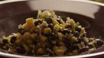 Quinoa and Black Beans I made this with aduki beans and red quinoa; it was great.