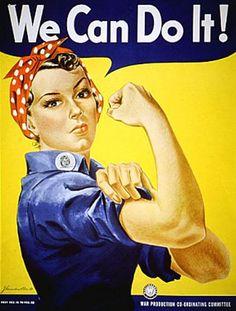 Poster sorti pendant la seconde guerre mondial en 1943, évoquant la participation des femmes à l'effort de guerre dans les usines