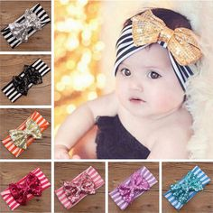 New Girls Striped Cotton Hairdress Paillette 12cm Bowknot Lovely Headband 11pcs in Clothing, Shoes & Accessories, Kids' Clothing, Shoes & Accs, Girls' Accessories | eBay