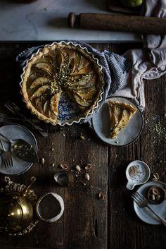 Pear, frangipane & caramel tart