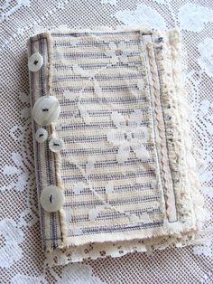 Mixed Media Fabric Art Collage Handmade Book Fabric Lace Altered Art Journal Smashbook JunkJournal Diary