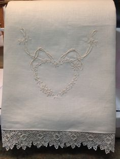 Linen hand towel hand embroidered with hearts for Valentine's Day