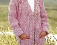 PDF Knitting Pattern Cabled Aran Jacket or Coat 34-42 | Etsy Aran Knitting Patterns, Tunic Sweater, Baby Patterns, Baby Hats, Cover Up, Pdf, Tunic Tops, Wool, Sweaters