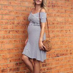 4974408ef5b20 Maternity Off Shoulder Stripes Dress #maternitydresses  #maternitysummerdresses #maternityfashion #maternitystyle #pregnancy  Maternity