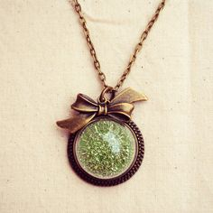 Green Glitter Globe Necklace with Antique Bronze Bow