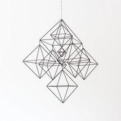 Large Himmeli No.2 / Rigid Straw / Modern Hanging Mobile / Geometric Sculpture / Minimalist Home Decor