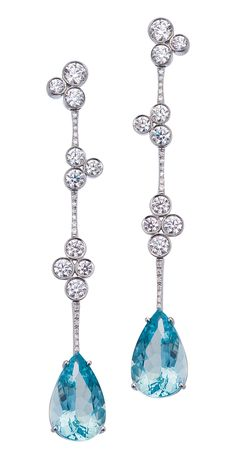 Lovely Aquamarine and Diamond Earrings by Mark Patterson