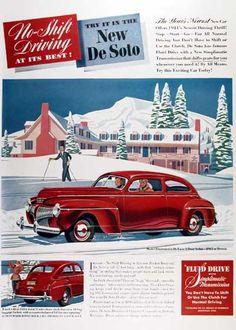 1941 Desoto Deluxe 2 Door Sedan Original Vintage Adver No Shift Driving At Its