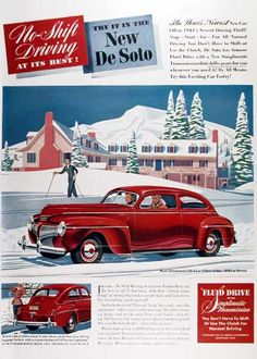 1941 DeSoto Deluxe 2-Door Sedan original vintage advertisement. No shift driving at its best! Try it in the new DeSoto. Original MSRP started at $965 purchased at Detroit. Size 10 by 13 inches. Price: $20.00 worldwide delivery included. NEAR MINT!