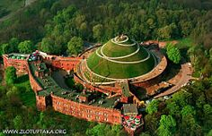 The Kosciuszki Mound. Krakow. Poland. A large man made mound constructed in honor of Tadeusz Kosciuszko. Built in 1823. Constructed using soil from the battlefields where Kosciuszko fought. Snake-like paths lead to the top of the mound.