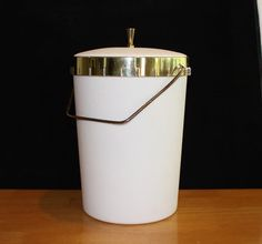 Vintage White Cal-Dak Ice Bucket, Champagne Bucket by cocoandcoffeevintage
