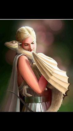 "ASOIAF, Game of Thrones - Daenerys Targaryen ""Mother of Dragons"" by NhacuaDau on DeviantArt. Magical Creatures, Fantasy Creatures, Elfa, Game Of Thrones Art, Dragon Artwork, Dragon Rider, Dragon Pictures, Mother Of Dragons, Jolie Photo"