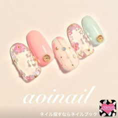 White pink flower light blue nail art with delicate and elegant pastel and popular nail art spring summer 2017
