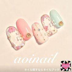 nails - from aoi nailのネイルデザイン[No Trendy Nails, Cute Nails, My Nails, Nail Designs Spring, Nail Art Designs, Nails Design, Spring Nails, Summer Nails, Asian Nails