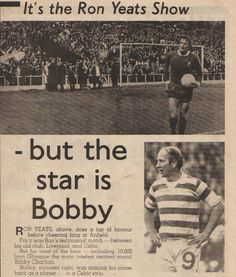 Liverpool 1 Celtic 4 in May 1974 at Anfield. Newspaper report when Bobby Charlton played for Celtic in Ron Yeats' Testimonial. Bobby Charlton, Celtic Fc, Liverpool Fc, Manchester United, Glasgow, Newspaper Report, The Unit, Baseball Cards, Scotland