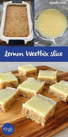 We're excited to share with you this easy and delicious Lemon Weetbix Slice Recipe. Vanya from VJ Cooks fame whipped this up after her Chocolate Weetbix Slice was so popular. Baking Tins, Baking Recipes, Dessert Recipes, Baking Ideas, No Cook Recipes, Fish Recipes, Tray Bake Recipes, Recipies, Baking Utensils