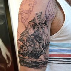 Boat Sleeve Tattoo. Maybe I'll get this done when I'm out of the military!