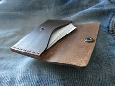 Brown Horween Leather Business Card Holder Leather by TQleather Leather Crafts, Leather Projects, Leather Pieces, Leather Men, Leather Card Case, Leather Wallet, Leather Business Card Holder, Leather Bags Handmade, Leather Accessories