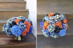 blue + orange bouquet