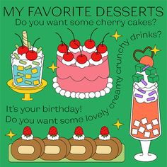 Cherry Desserts, Cherry Cake, Graphic Design Illustration, It's Your Birthday, Illustrations Posters, Doodles, Photo And Video, My Favorite Things, Creative