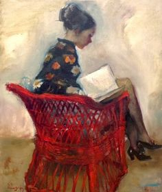 Reading and Art: Cayetano de Arquer Buigas, Reading in the red chair Reading Art, Woman Reading, Reading Library, Reading Books, People Reading, Book Letters, Figure Painting, Oeuvre D'art, Love Art